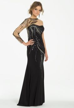 Beaded Illusion One Sleeve Dress from Camille La Vie and Group USA #homecoming #prom