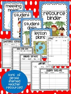 pirate themed resource binder with data sheets, templates, etc!