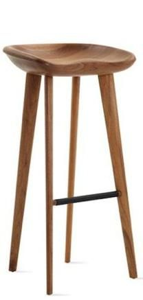 Black walnut stool with sculpted seat, tapered legs
