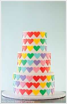 I would love to make a cake decorated with fondant rainbow hearts. Actually if I had a time machine this would be my wedding cake. Little Girls, Rainbow Cakes, Heart Cake, Rainbow Heart, Wedding Cakes, Bright Colors, Parti, Heart Designs, Birthday Cakes