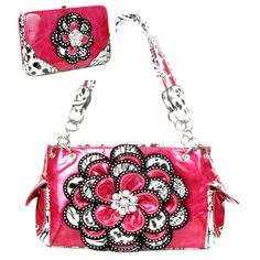 Handbags, Bling & More! Crystal Leaf Pink Leopard Rhinestone Flower Handbag W Matching Wallet : Flower Purse Sets