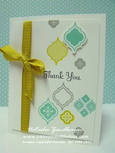 Mosaic Madness stamp set, Best of Greetings stamp set, Stitched Satin Ribbon