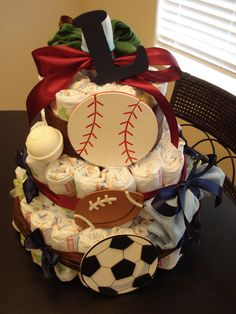 Sports Theme Diaper Cake