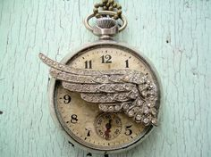 angel wings, time fli, something old, memorial tattoos, clock, pocket watches, vintage necklaces, jewelri, vintage life