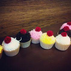 Bakery style yarn pom-pom cupcakes! www.cupcakewishesstore.etsy.com