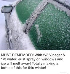 With 2/3 vinegar & 1/3 water! Just spray on windows and ice will melt away!