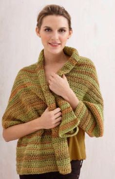 Lion Brand® Tweed Stripes Caramel Tweed Shawl #crochet #pattern