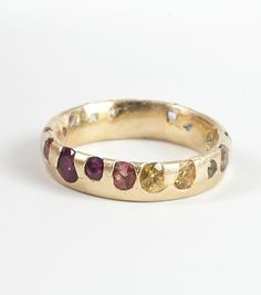 Polly Wales Ring- multi color sapphires, yellow gold