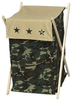 Clothes Laundry Hamper - Green Camo Army Military Camouflage
