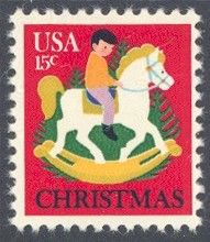 1978_10_18 $.15 This mint Christmas stamp depicts a child on a rocking horse with Christmas trees in the background. The stamp was designed by Dolli Tingle.