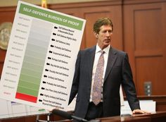 """so gross -- florida's terrible """"stand your ground"""" laws visualized. it's like they don't value life at all. #justicefortrayvon  Defense attorney Mark O'Mara holds up a chart during closing arguments."""