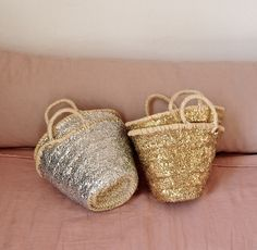 Sequin baskets from Olmay Home.