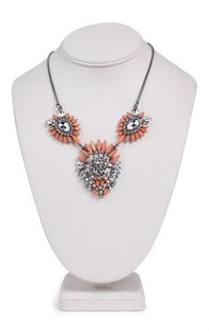 Deb Shops Short Statement Necklace with Three Tribal Stone Design $9.03