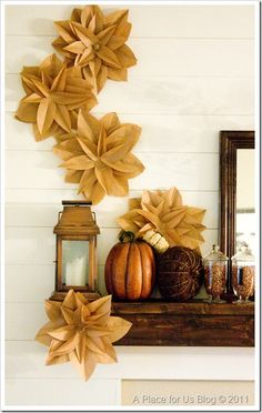 A beautiful mantle set-up & DIY brown paper bag flowers