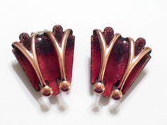 Vintage MATISSE Copper Red and Black Enamel Modernist Clip Earrings Rare Style #MatisseRenoir