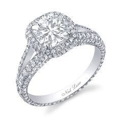 3-carat Neil Lane ring with a a central cushion cut diamond surrounded by 263 round brilliant cut diamonds #ring #wedding #engagement
