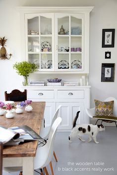Heart Home Sneak Peek by decor8, via Flickr dining rooms, cat, china cabinets, dresser, wood tables, kitchen, wooden tables, dining tables, sneak peek