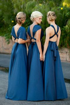 Blue bridesmaids dresses by Goddess by Nature