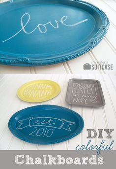 Make these colorful chalkboards from platters found at the dollar store! #diy #chalkboard #dollar www.sisterssuitcaseblog.com