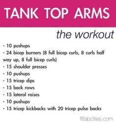 Tank Top Arms Upper Body Workout... Not for the looks, for the strength. :)