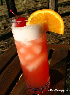 Sex On The Beach (1.5 oz. coconut rum splash of spiced rum 1 oz. peach schnapps 2 oz. cranberry juice 2 oz. pineapple juice)