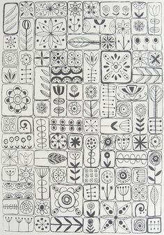 line drawings, scandinavian design, pattern, embroidery samplers, color
