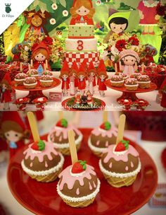 Festa com o tema Moranguinho com a produção da Lovely Eventos.
