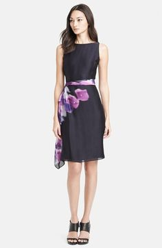 Armani Collezioni Print Side Drape Silk Dress available at #Nordstrom