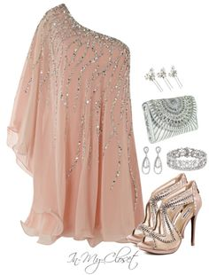 Beautiful, flowy, sparkly dress with glam accessories. Perfect for a formal event, girl's night out, fancy date night, etc.