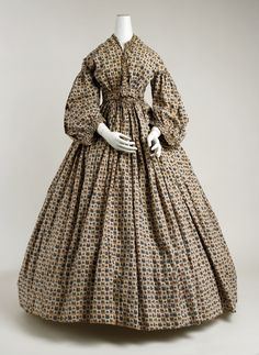 1850–65 American, cotton - see the fabrics section for a closeup of the fabric.