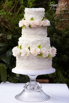 Tiers of Pale Pink Frills & Roses