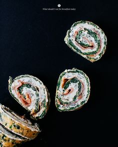 spinach and egg rolls with smoked salmon and cream cheese
