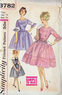 1950s Teen Full Skirt Party Dress