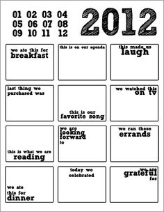 12 in 2012.. a scrapbook project to document the every day, one day a month, for the entire year. Printable template, totally foolproof. Can't wait to get started!