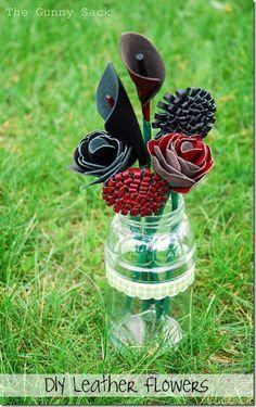 Leather flowers DIY