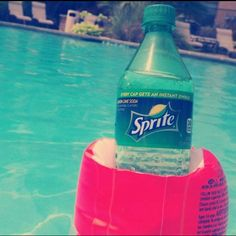 Such a good idea! Use an arm float as a drink holder while you're floating in the pool!