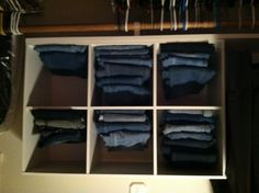 Cubical storage to organize jeans in the closet! I Luv this! I sorted my jeans by size and length!
