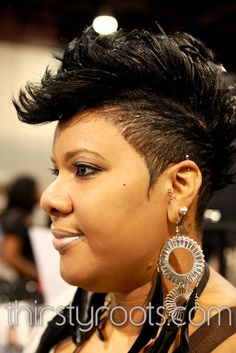 Tapered Mohawk Hairstyle short hair, black hairstyles, black mohawk hairstyles, big eyes, black people, short cuts, braid hair, hair care, funky hairstyles