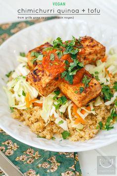 Grills Gone Vegan: #Vegan Chimichurri Quinoa + Grilled Tofu with Slaw and Cilantro #grilsgonevegan | vegan miam