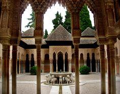 Patio de los Leones of the Alhambra in Granada, Spain