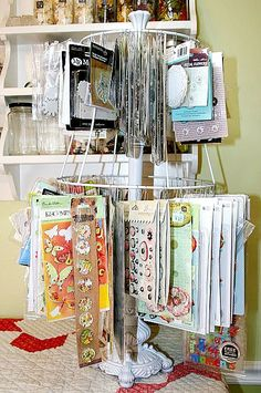 How about this embellishment stand. It's a lampshade! What a great idea for hanging all those stickers and packages.