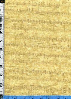 Fabric Benartex Choirs of Angels Music Staff musical notes tone on tone gold metallic coordinate
