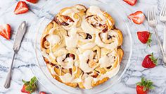 Strawberry Jam Sweet Rolls with Vanilla Cream Cheese Glaze ( try with peach or blueberry jam)