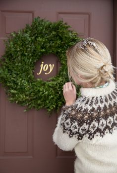 Boxwood wreath with wall decal