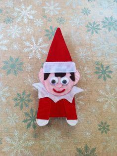 Elf On A Shelf Christmas ribbon sculpture hair clip. $6.50, via Etsy.