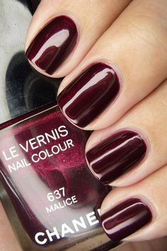 wine colored nails, winter colors, fall nails, burgundy the colour, nail colors, nail polish colors, chanel malic, burgundy nails, chanel polish