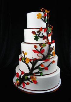 Fall themed wedding cake, branch and fall leaves, tree wedding cake