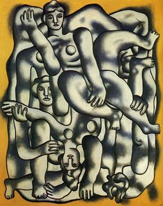 Fernand Leger - Acrobats In Grey--In this piece it Leger used people that appear to be nude, which is similar to other styles. The bodies are assembled and portrayed very differently. The arms and legs bring out the mechanical style he represents.
