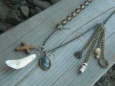 Bone Necklace Charm Necklace Skull Necklace by InkandRoses13, $26.99