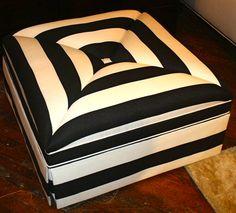 decor, squar, seat, black white, barclay butera, hous, stripes, stripe ottoman, miter stripe